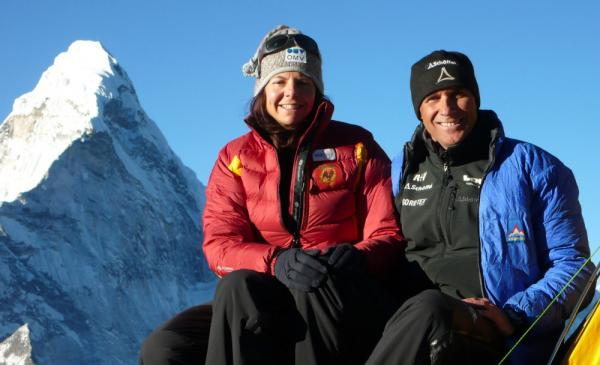 Climber Gerlinde Kaltenbrunner sits with her husband, Ralf Dujmovits, in this file photo from 2009. This week, Kaltenbrunner became the first woman to climb all the world's 14 tallest peaks without using supplementary oxygen.