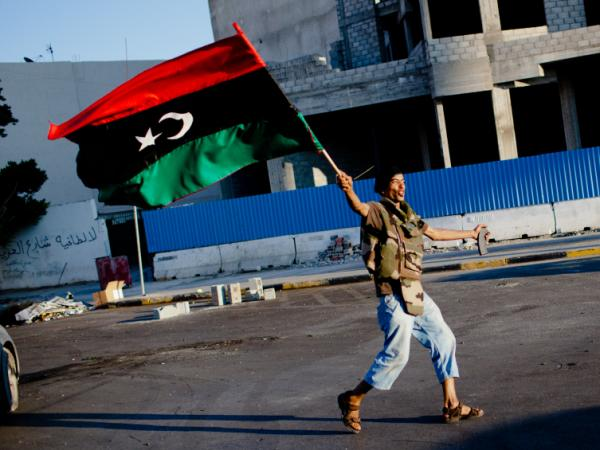 In Tripoli on Thursday (Aug. 25, 2011), this anti-Gadhafi fighter celebrated.