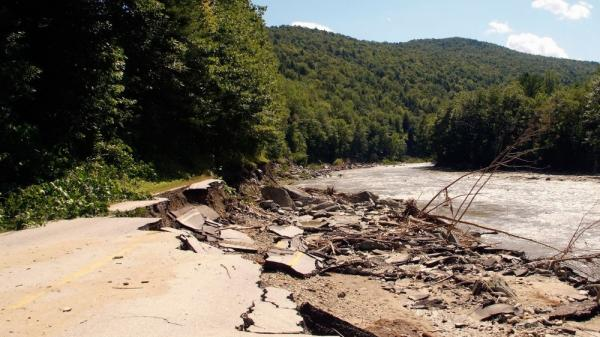 Some of the damage: Route 107 near Bethel, Vt.
