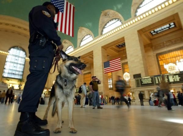"A K-9 police officer and his partner ""Bart"" patrol New York's Grand Central Terminal in 2003. Less visible are the clandestine security measures the government has implemented since 2001."
