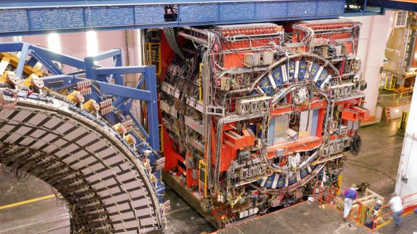 One of the detectors used in the discovery of top quarks at the Fermilab Tevatron