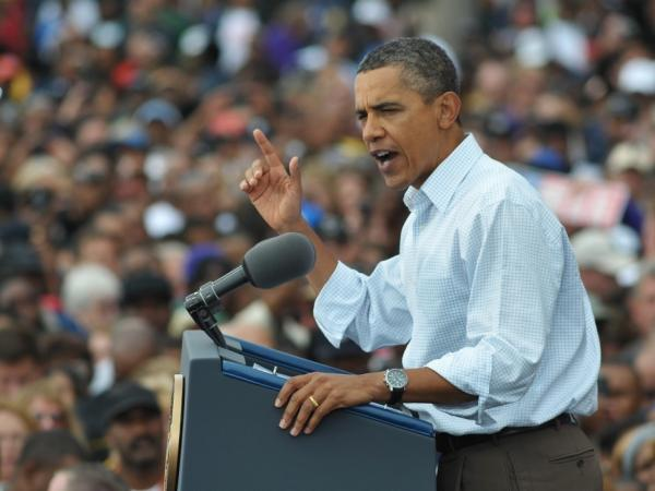 President Obama speaks during Labor Day celebrations Monday outside General Motors' headquarters in Detroit.