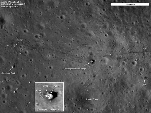 The Apollo 17 landing site: To the far right, the Lunar Roving Vehicle; Toward the center, the descent stage of the Challenger lunar module. The lines are tracks and cables.