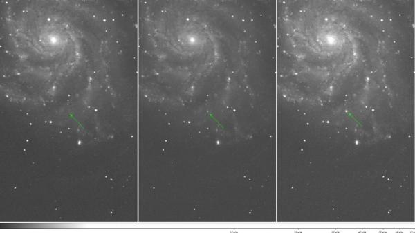 These images show Type Ia supernova PTF 11kly, the youngest ever detected—over the past three nights.