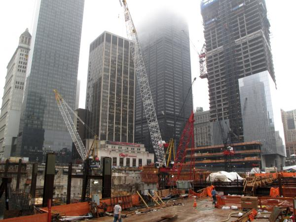 "New buildings are rising out of the old foundation of the Twin Towers site, once called the ""pit"" or the ""bath tub."" Kevin Devlin says he's glad to see the buildings are finally starting to take shape."