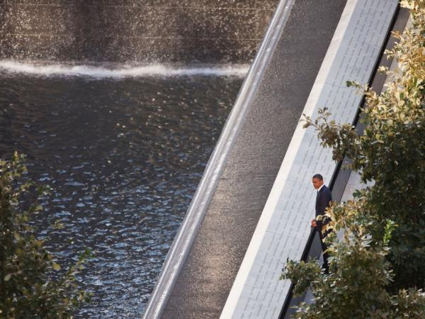 President Obama looked out at the North Pool of the 9/11 Memorial in New York earlier this morning.