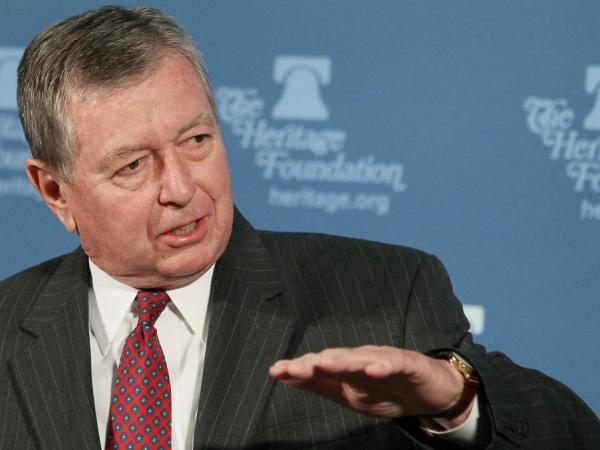 Former U.S. Attorney General John Ashcroft speaks at the Heritage Foundation in 2010 in Washington, DC. Ashcroft spoke about the U.S. Supreme Court's second opportunity to review the rights of Guantanamo detainees.