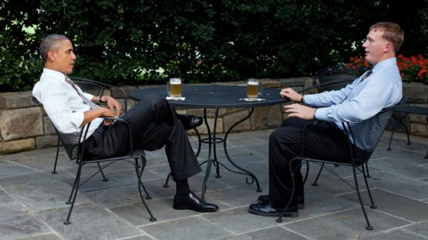 """At the White House on Wednesday, President Obama and Medal of Honor recipient Dakota Meyer sipped beers and talked. Meyer told CBS News he asked the president for advice on how to be successful. """"He said, 'You know, first thing, get an education' and he said 'just take it  slow and don't try to make any rash decisions,' """" Meyer told CBS."""