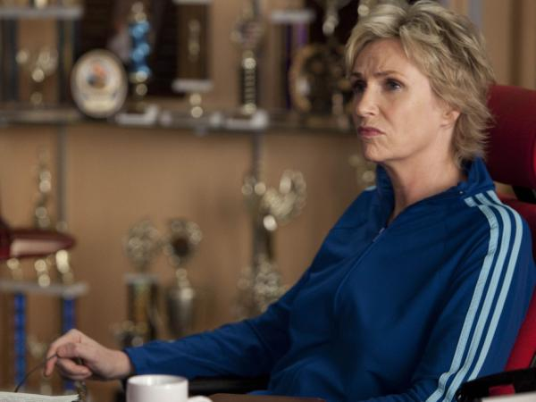 Jane Lynch plays the nasty Sue Sylvester on Fox's <em>Glee</em>, for which she won an Emmy Award in 2010.