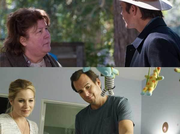 Clockwise from top: Margo Martindale in <em>Justified</em>; Will Arnett in <em>Up All Night</em>.