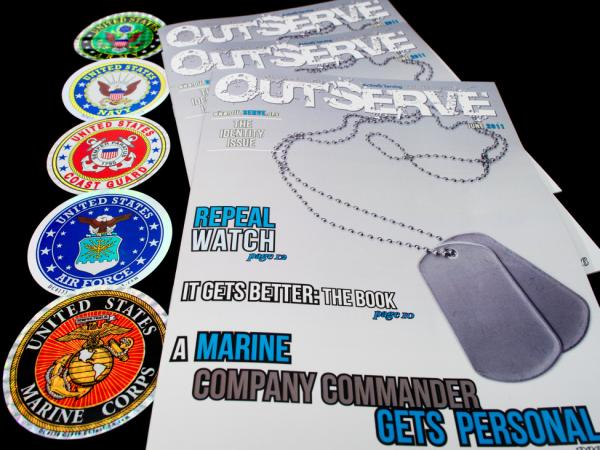 Copies of a new magazine called <em>OutServe</em>, intended for actively serving lesbian, gay, bisexual, and transgender members of the U.S. military.