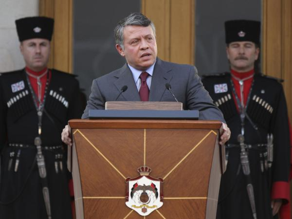 King Abdullah II speaks to Jordan's royal reform committee after receiving plans to alter his country's Constitution, during a ceremony at Raghadan Palace in Amman on Aug. 14.