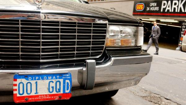 A car with diplomat license plates near the United Nations in New York City.