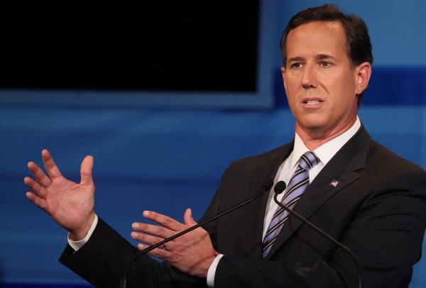 Former Pennsylvania Sen. Rick Santorum during Thursday night's Republican presidential debate in Orlando.