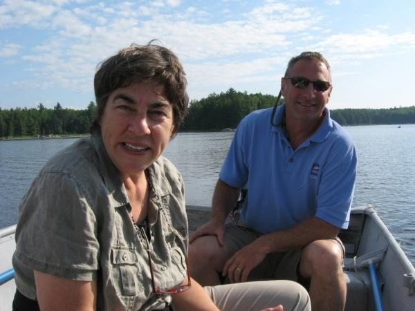 Roxanne Quimby, here with Millinocket Lake guide Matt Polstein, wants to donate 70,000 acres of land to the National Park Service along with an endowment to manage what would be a national park in Maine's North Woods.