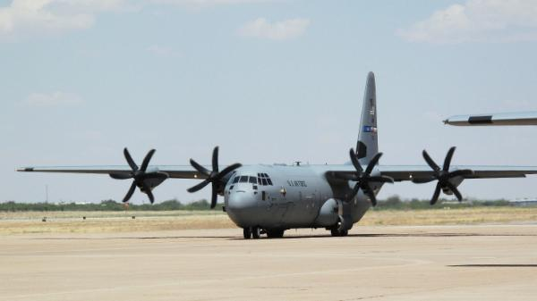 This C130 is just one of a growing  list of military aircraft that have successfully flown on a 50 percent blend of bio jet  fuel. Half of the fuel powering this plane at Dyess Air Force Base in Abilene Texas is made from a weed-like plant called Camelina.