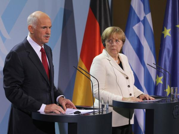 German Chancellor Angela Merkel and Greek Prime Minister George Papandreou spoke to the media prior to talks Tuesday in Berlin on Greece's economic crisis.