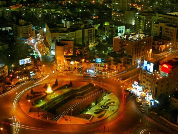 A traffic circle in the heart of Amman, Jordan.