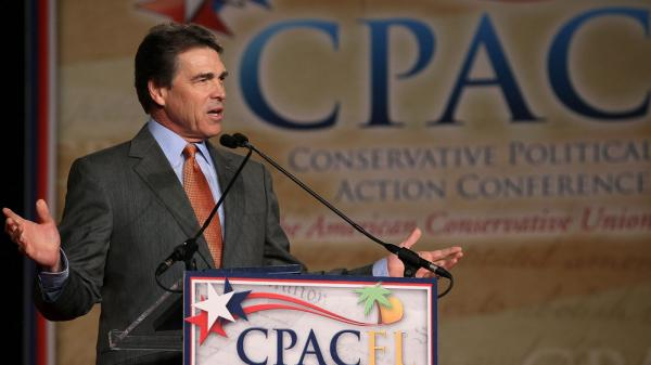 Texas Gov. Rick Perry speaks at the Conservative Political Action Conference this month in Orlando, Fla. The next day, he finished a disappointing second in the Florida GOP straw poll.