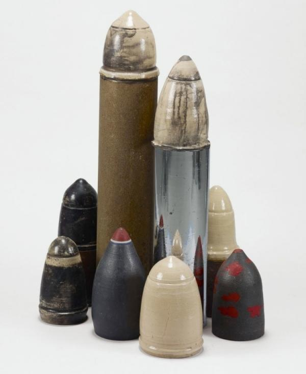 Artist Dale Davis created <em>Viet Nam Game</em> in 1969 in response to the draft imposed by the Vietnam War. Standing 4 feet high, the structure is meant to resemble bombs.