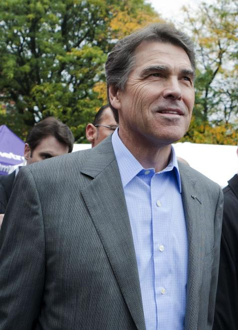<p>Republican presidential candidate and Texas Gov. Rick Perry in Manchester, N.H., on Saturday (Oct. 1, 2011).</p>
