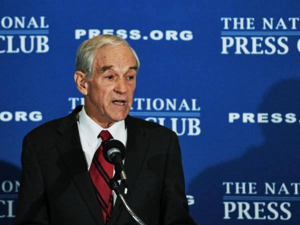 <p>Republican presidential candidate Rep. Ron Paul of Texas at the National Press Club in Washington today. </p>