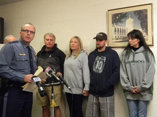 Oregon State Police Lieutenant Gregg Hastings introduces members of Cody Myers' family during a press conference at OSP headquarters in Salem. Photo by Chris Lehman