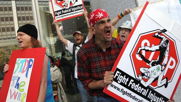 <p>In July, protesters rally inSan Francisco against a Drug Enforcement Agency memo they believed would lead to prosecution of individuals in compliance with California medical marijuana laws.</p>