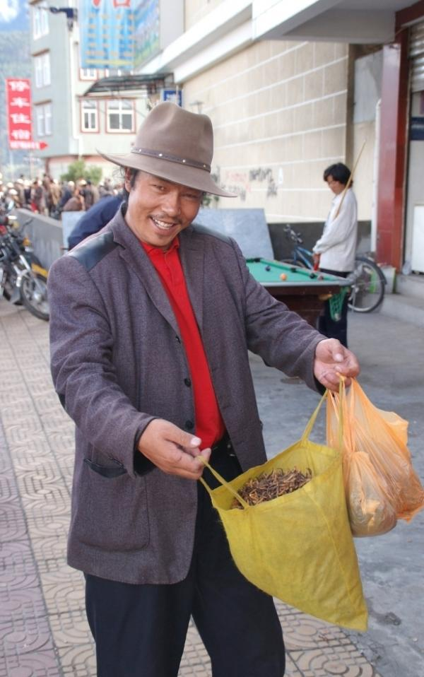 <p>A yartsa gunbu dealer in the town of Bayi, Tibet.</p>