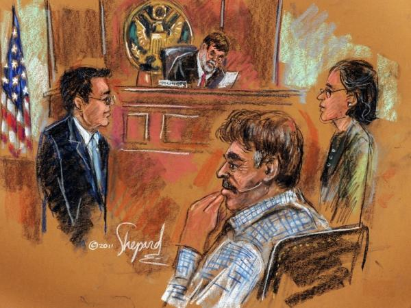 <p>This courtroom drawing shows Manssor Arbabsiar (front, right), appearing before U.S. Southern District Court Judge Michael H. Dolinger on Tuesday.</p>