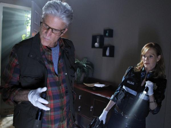 <p>Ted Danson and Marg Helgenberger search for clues on the CBS drama <em>CSI</em>.</p>