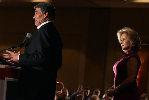 <p>Anita Perry watches while her husband Texas Gov. Rick Perry speaks to an audience in Orlando, Fla., September 22, 2011.</p>