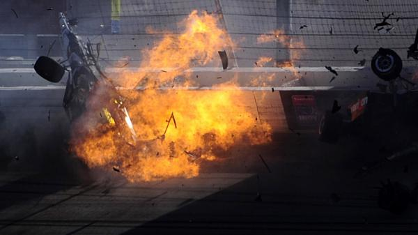 <p>The car of driver Dan Wheldon  bursts into flames during the Las Vegas Indy 300. Wheldon, 33, was killed.</p>