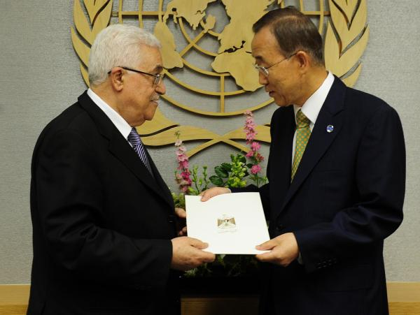 <p>Palestinian Authority President Mahmoud Abbas (left) hands over a formal letter for Palestine to be admitted as a state to the U.N. Secretary-General Ban Ki-Moon during the 66th U.N. General Assembly at the United Nations headquarters in New York, Sept. 23. Now, the Palestinians are pursuing full membership in other U.N. agencies.</p>