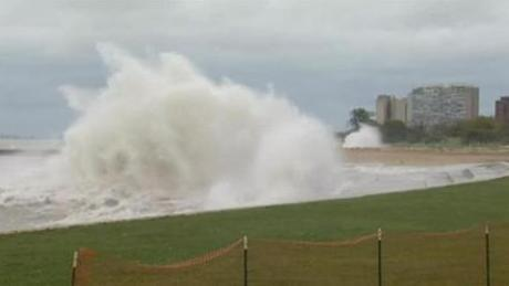 <p>Waves were already crashing along Chicago's shore with Lake Michigan earlier today.</p>