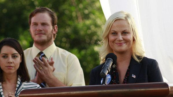 <p>Amy Poehler, seen here with Aubrey Plaza as April Ludgate and Chris Pratt as Andy Dwyer, plays idealistic bureaucrat Leslie Knope on NBC's <em>Parks And Recreation</em>.</p>
