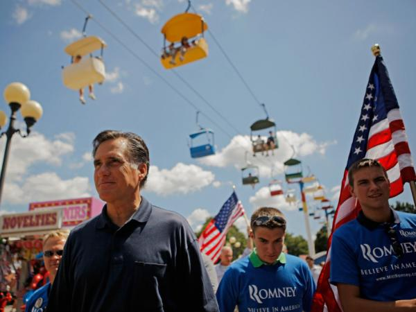 <p>Mitt Romney, shown here at the Iowa State Fair in August, was back in the state on Thursday — his first visit since summer. At one point during his town hall on Thursday, he was asked why he's spent so little time in the state. </p>