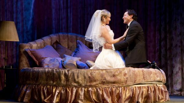 "<p>Ari Graynor (left) and Steve Guttenberg star in Woody Allen's ""Honeymoon Hotel."" It is one of three one-act comedies that make up <em>Relatively Speaking,</em> directed by John Tuturro.</p>"