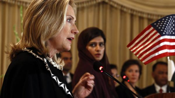 <p>Secretary of State Hillary Clinton speaks in Islamabad Friday, as Pakistan Foreign Minister Hina Rabbani Khar looks on. Clinton urged Pakistan to act swiftly to dislodge the militant Haqqani network.</p>