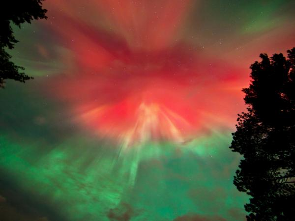 <p>The Northern Lights over Marquette, Mich., last night.</p>