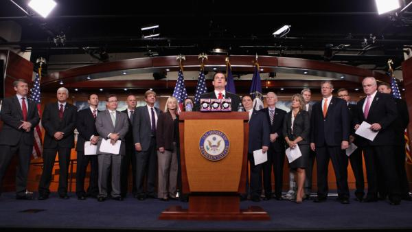 <p>House Republican freshman, some of whom shown here in April, are learning that fundraising is a big part of the job.</p>