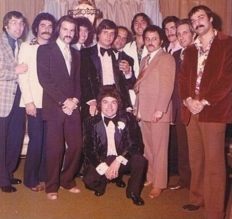 <p>While in New York, Jon Roberts (third from left) had close ties with the Gambino crime family. He attended his last wiseguy party — a New York wedding — before fleeing to Miami in 1973.</p>