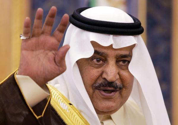 <p>Prince Nayef bin Abdul Aziz al-Saud waving before delivering a speech at the Shura (consultative) Council in Riyadh in 2007.</p>