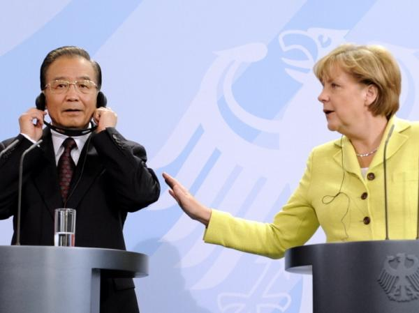 <p>German Chancellor Angela Merkel and Chinese Prime Minister Wen Jiabao meeting in Berlin on June 28. During Europe's economic crisis, both China and the United States have stayed mostly on the sidelines.</p>