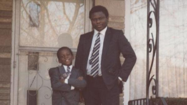 "<p>Ayodeji Ogunniyi and his father, Abimbola ""Yinka"" Ogunniyi, at their first American home in South Holland, Ill., in 1993. </p>"