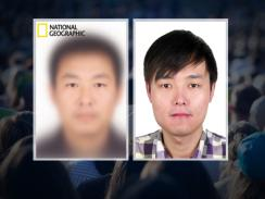 <p><em>National Geographic</em>'s composite sketch of the world's most typical person (left) and the real Mu Li.</p>
