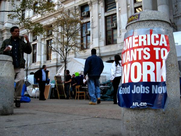 <p> Union posters can be found all over the Occupy Philadelphia protest site near City Hall. Protesters and local union leaders meet regularly to discuss tactics and how to involve labor. </p>
