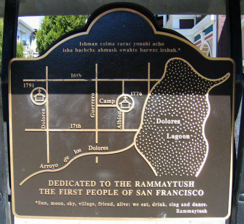 <p>A disputed plaque in San Francisco's Mission District features Laguna Dolores. The most recent version of a map of the city's underground waterways removes the lagoon, as it was considered geographically impossible.</p>
