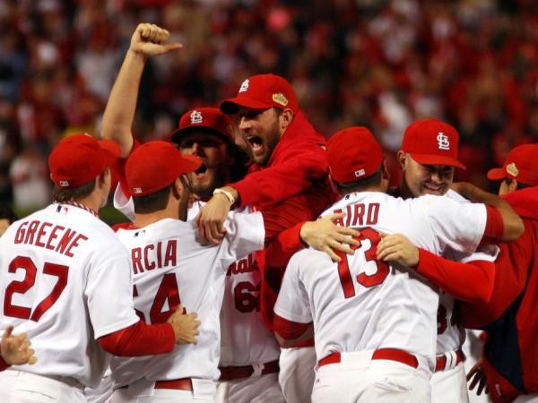 <p>The St. Louis Cardinals celebrate after defeating the Texas Rangers 6-2 to win the World Series in Game 7 at Busch Stadium in St Louis, Miss., on Friday.</p>