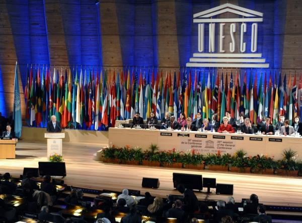 <p>Foreign Minister of the Palestinian Authority, Riyad Al-Malki delivers a speech at the headquarters of UNESCO in Paris. </p>